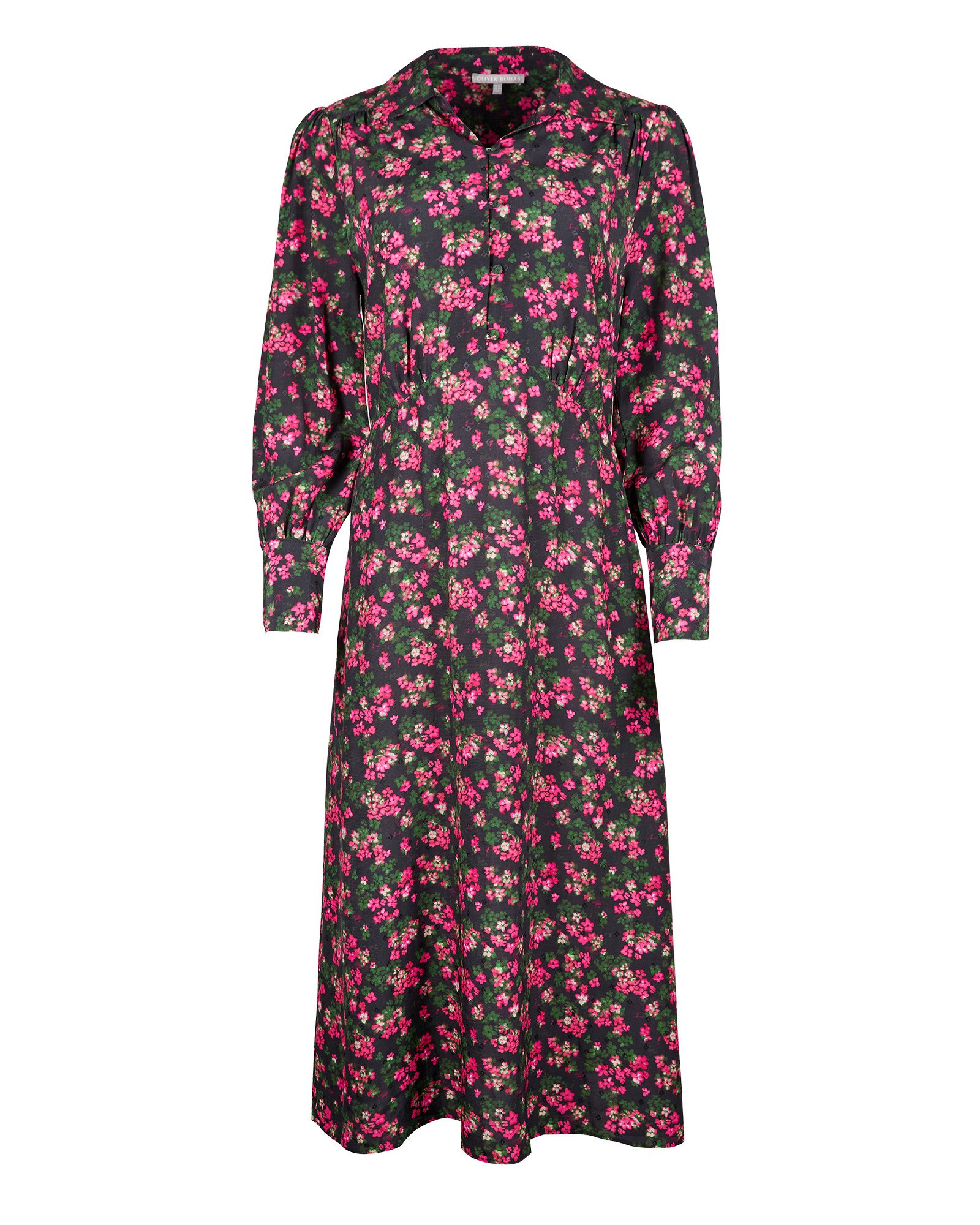 Ditsy Floral Print Pink & Black Midi Shirt Dress