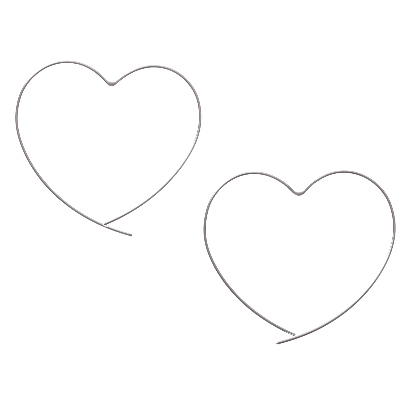 Silver Silver Heart Contour Earrings Oliver Bonas