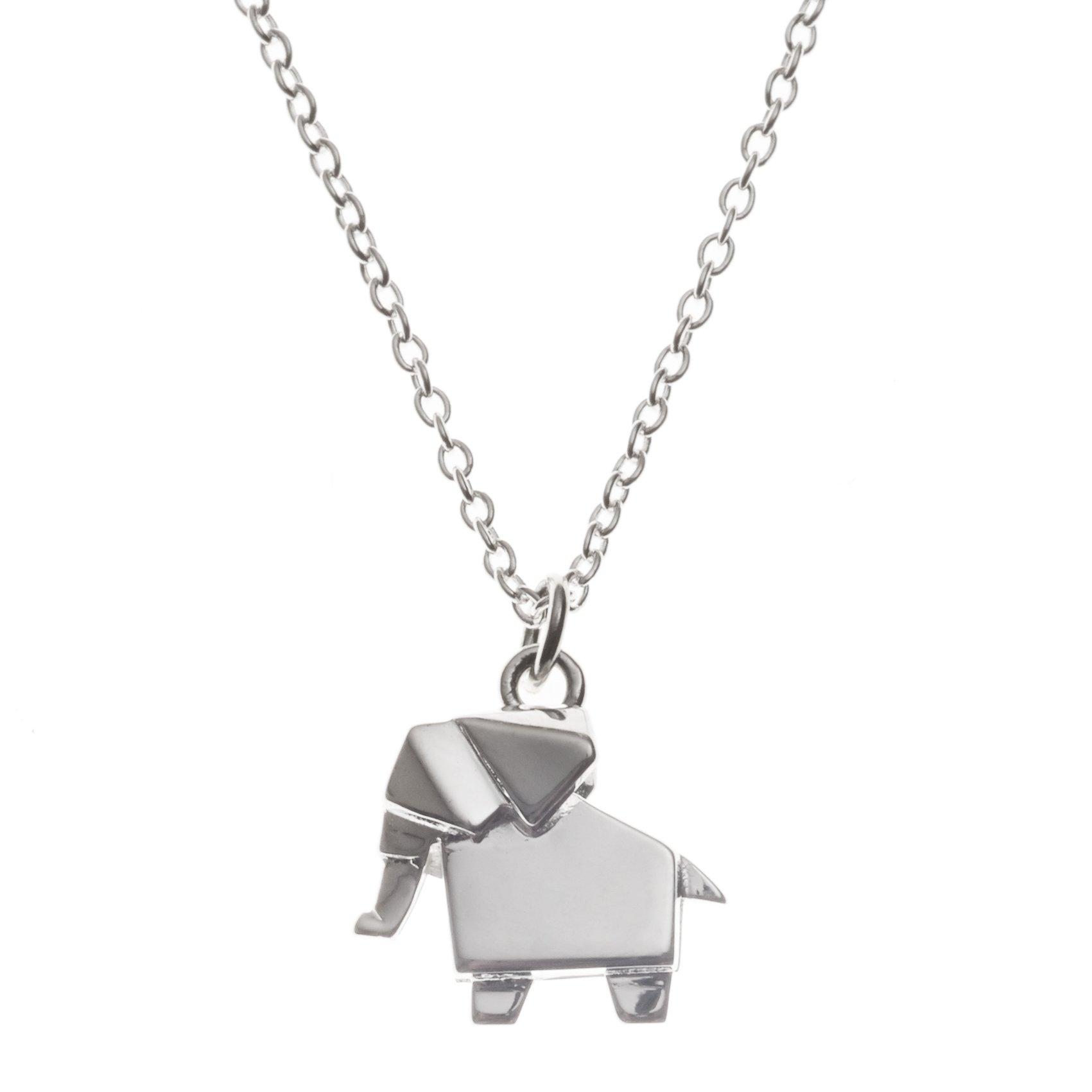 Silver Silver Origami Elephant Necklace Oliver Bonas