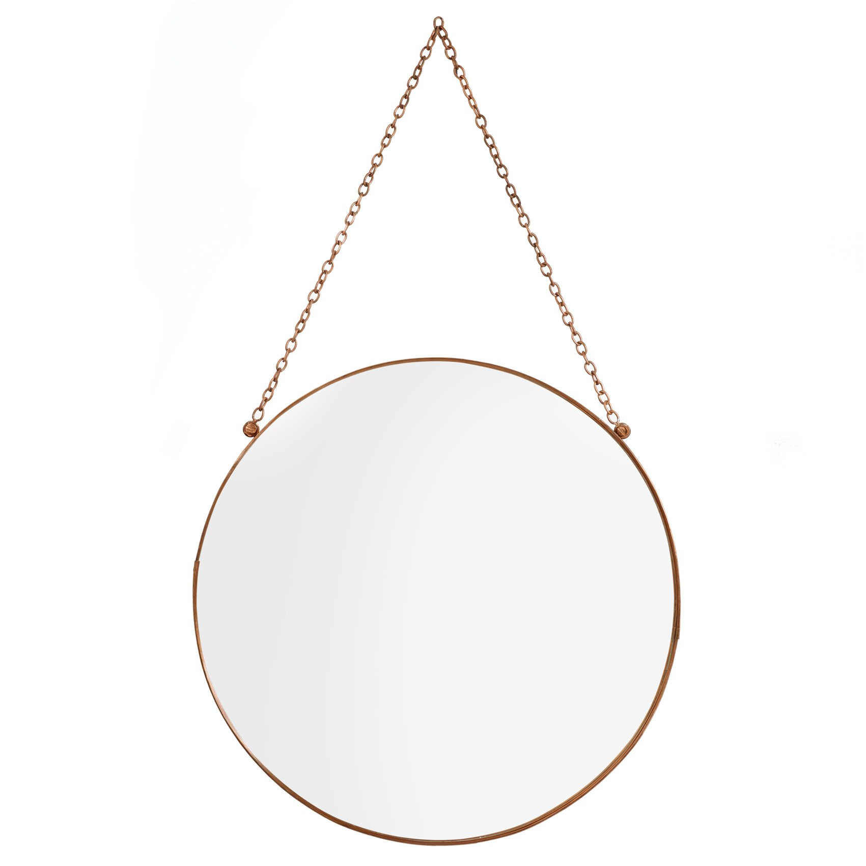 Large Round Copper Hanging Mirror Oliver Bonas