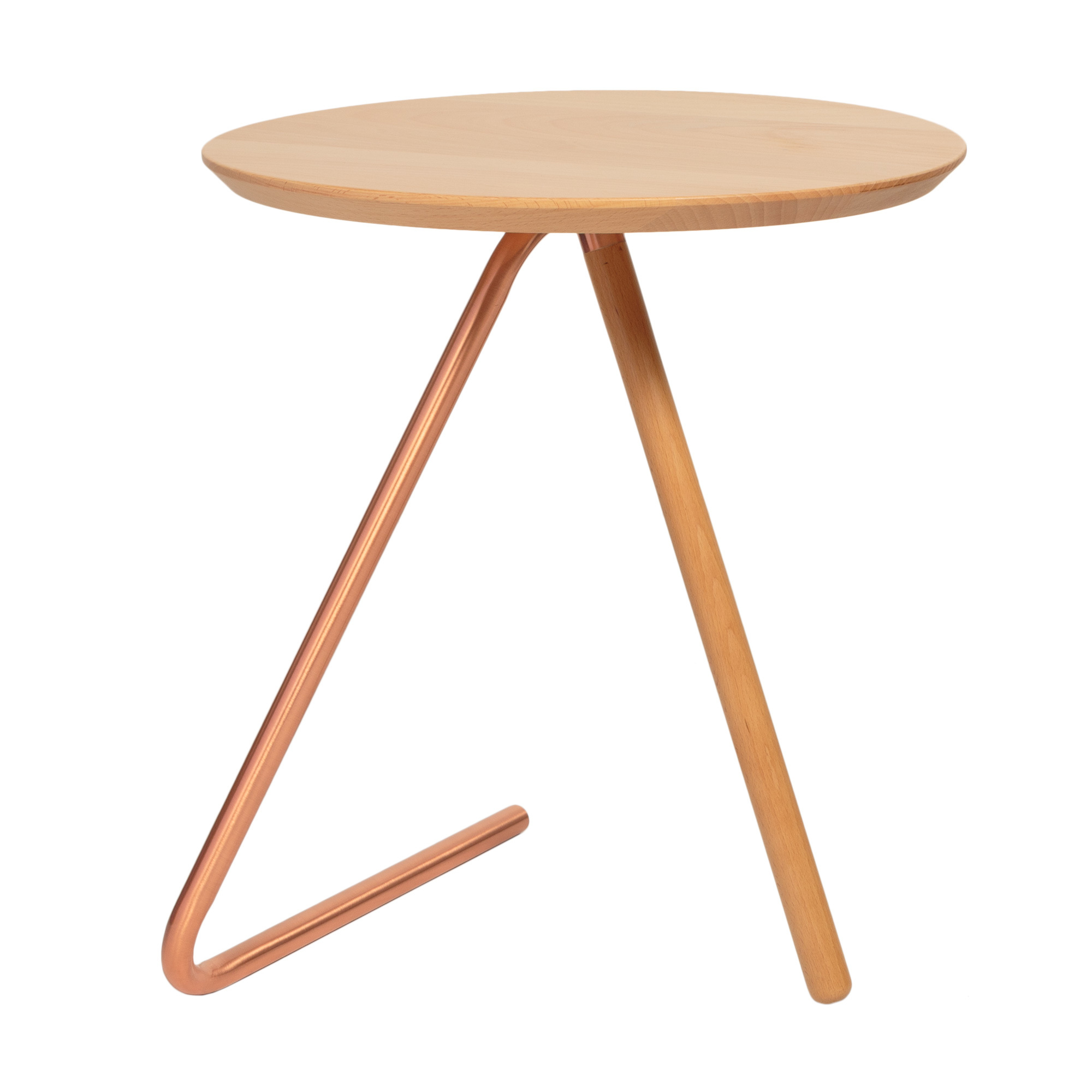 Less Than Three Wood and Copper Side Table