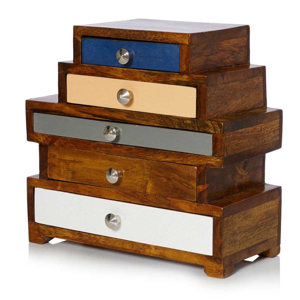 Maggie Five Drawer Wooden Jewellery Box Oliver Bonas