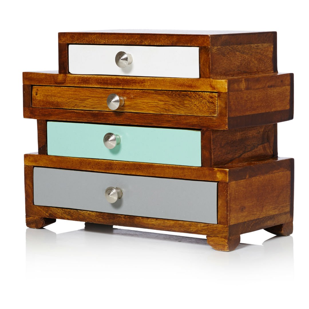 Wood Drawer Boxes ~ Ethel four drawer wooden jewellery box oliver bonas