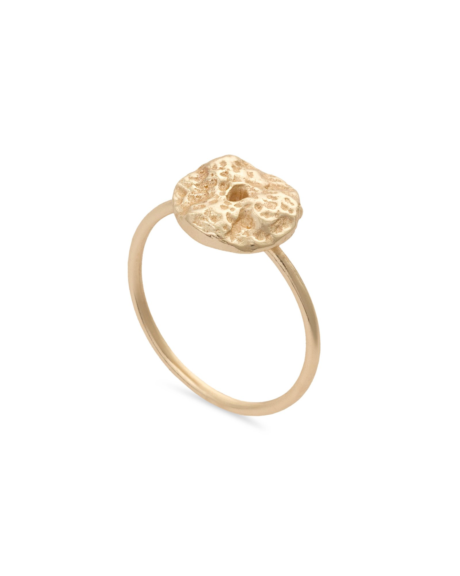 48f4dd752f Ciolli Textured Coin Gold Plated Ring | Oliver Bonas
