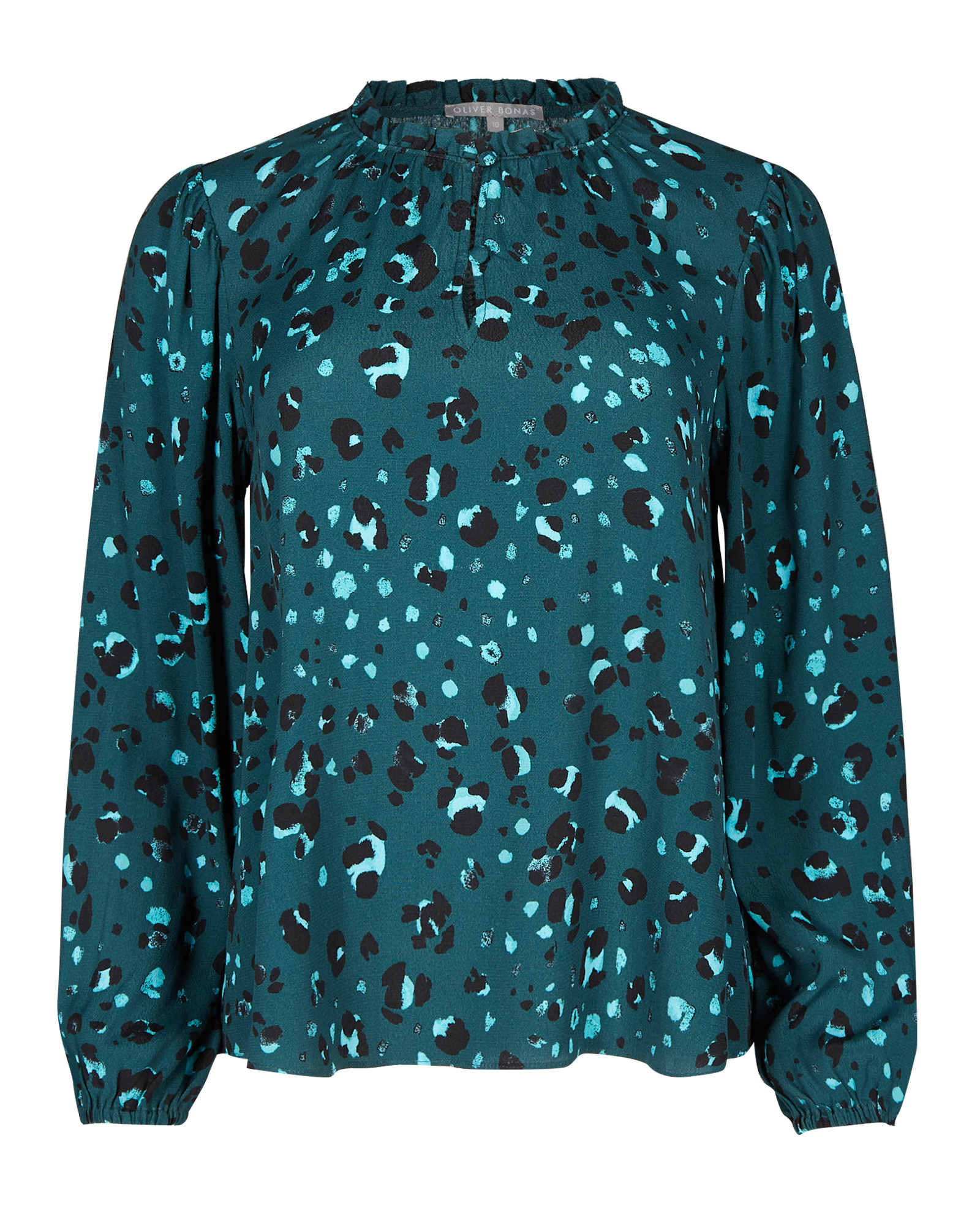 Snow Leopard Print Teal Blue Long Sleeve Top