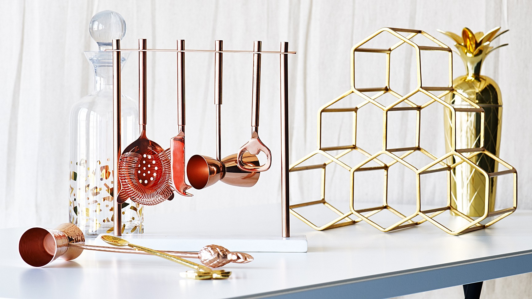 Gold Hexagon Wine Rack | All Homeware | Oliver Bonas