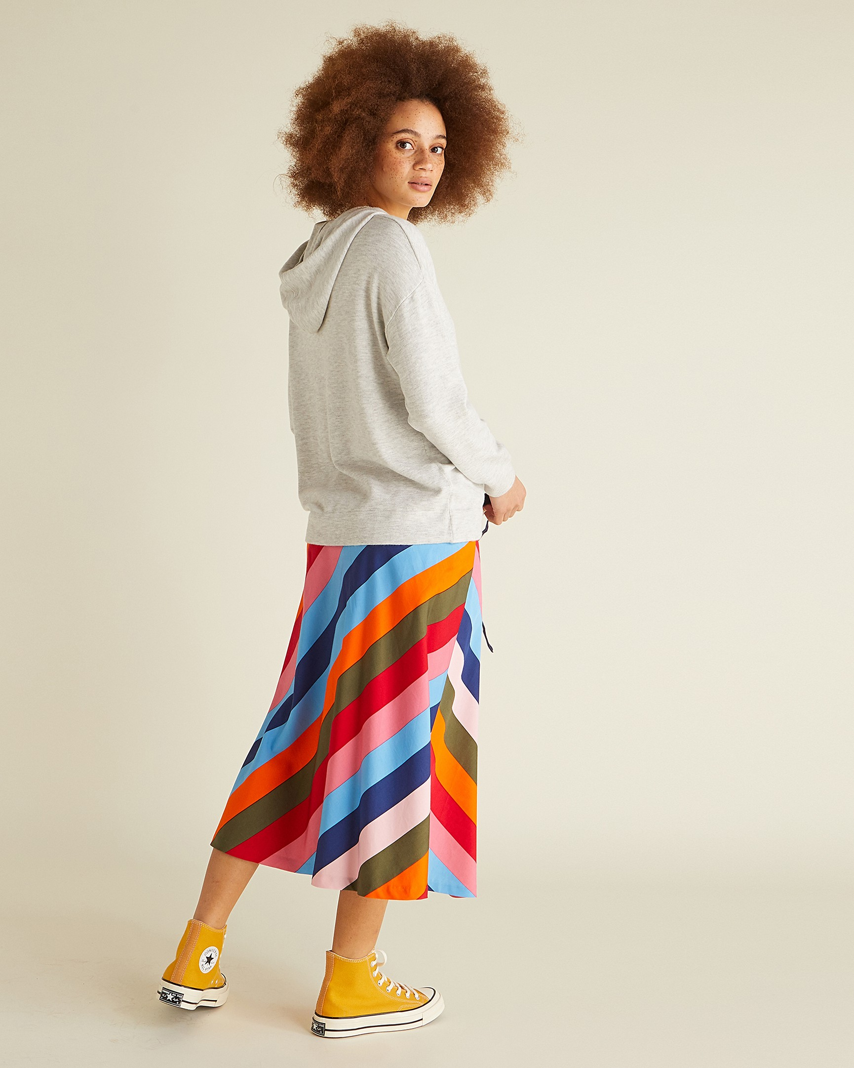 12efa08977 Stripe Multicoloured Midi Wrap Skirt