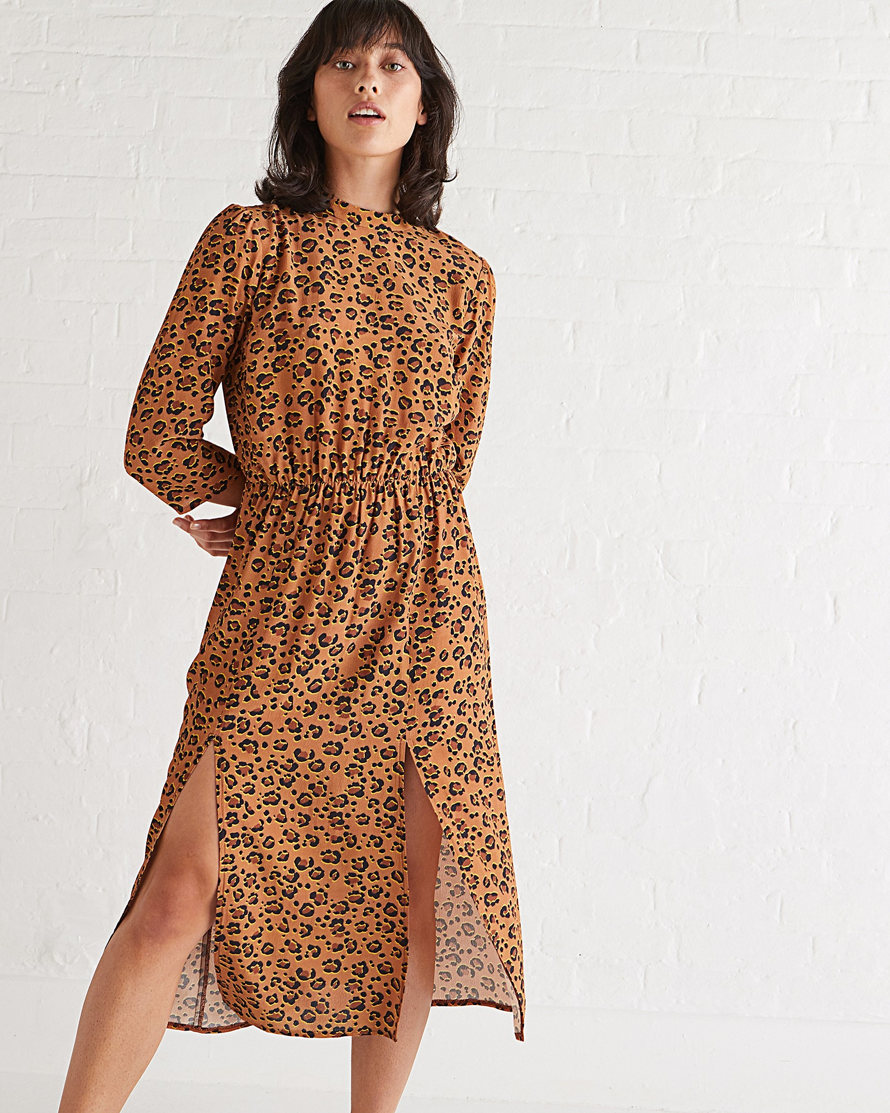 1fe75c01562 Natural Animal Print Tan Midi Dress