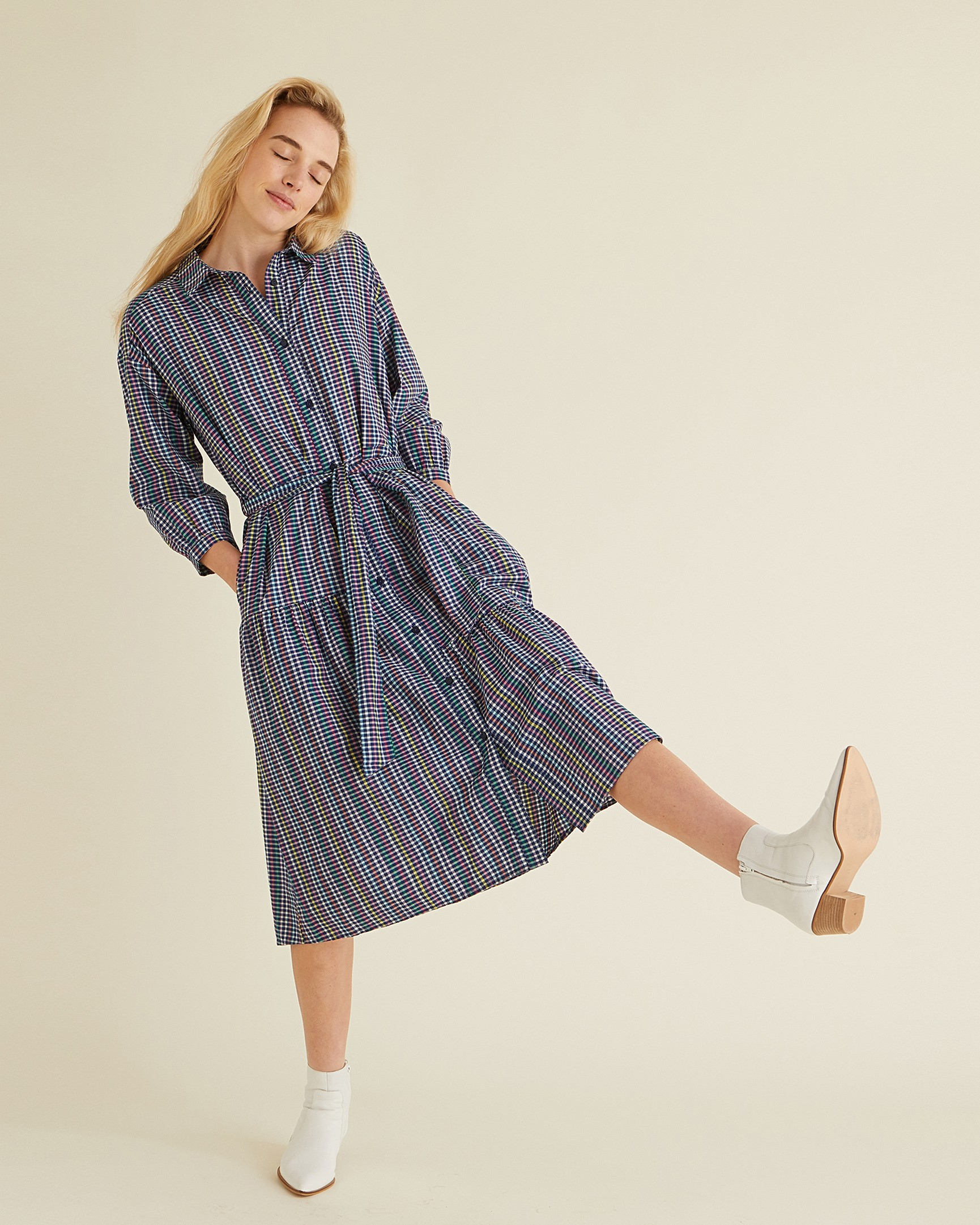 Gingham Blue Shirt Midi Dress a872dc114