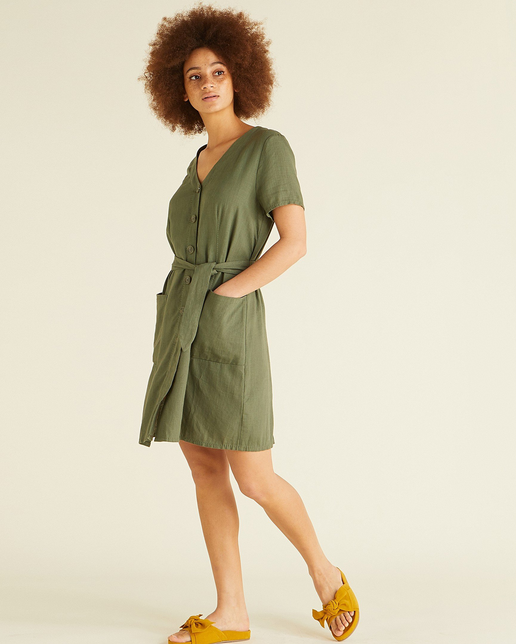 0cd65fdeefe Adventure Khaki Linen Mini Dress