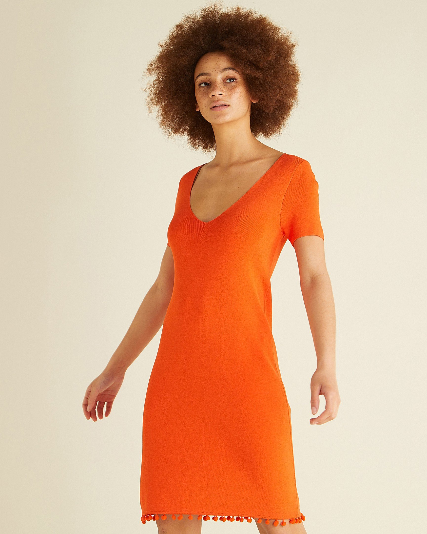 33bc41cb21 Pom Pom Trim Orange Mini Dress
