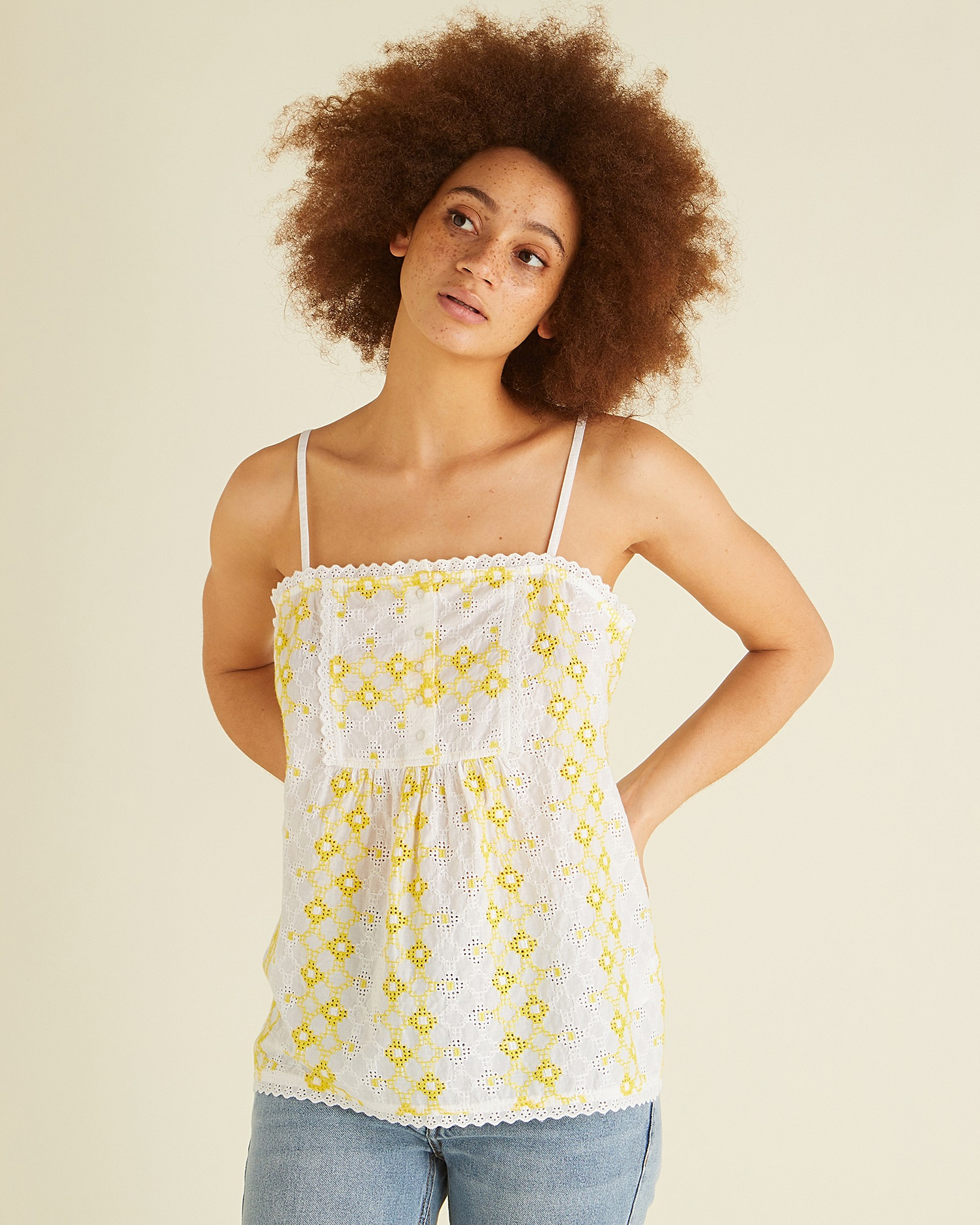f79b0c7dc9872 Embroidered White   Yellow Cami Top