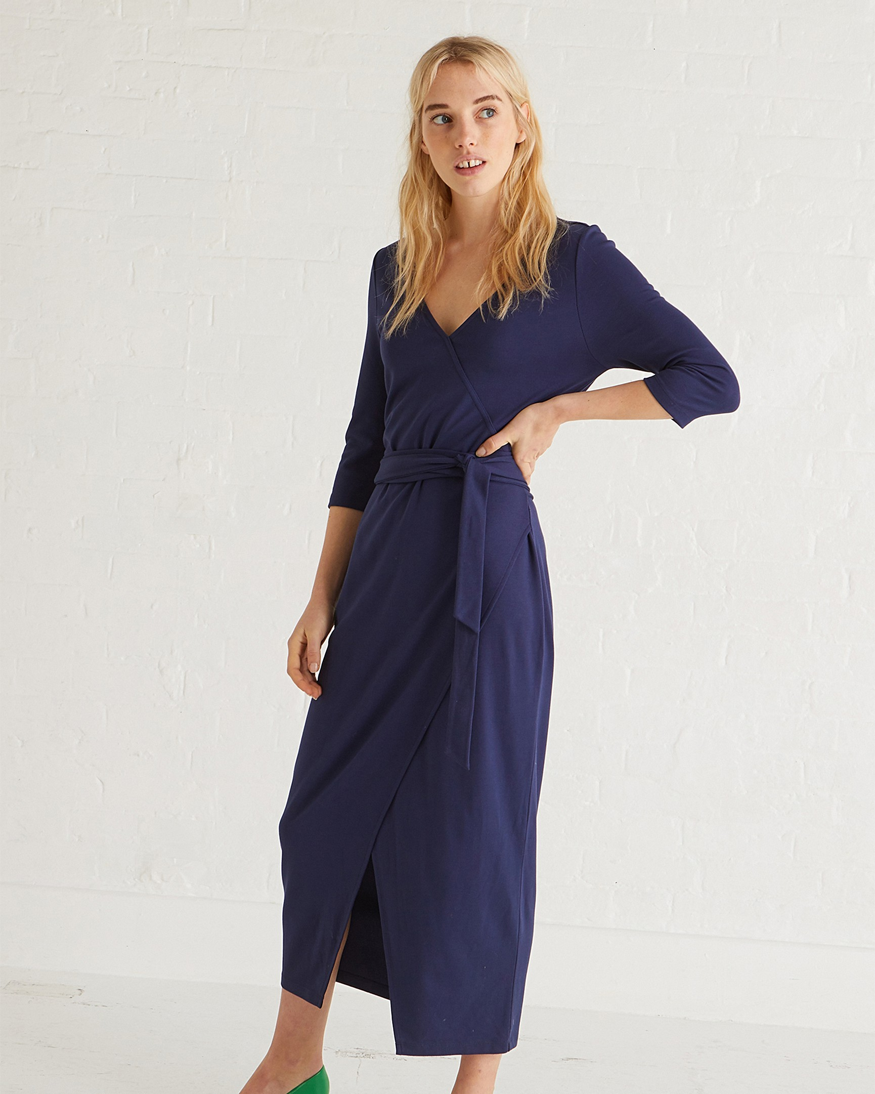 6eb3b489fa5 Love Navy Belted Wrap Dress