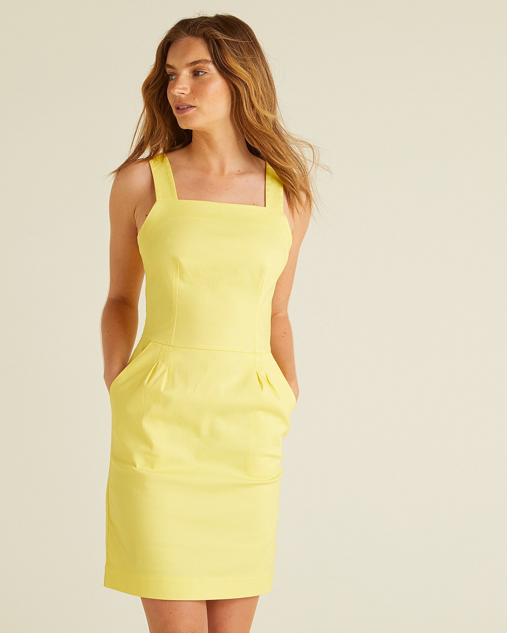 6876bf98cfa Structured Yellow Mini Dress