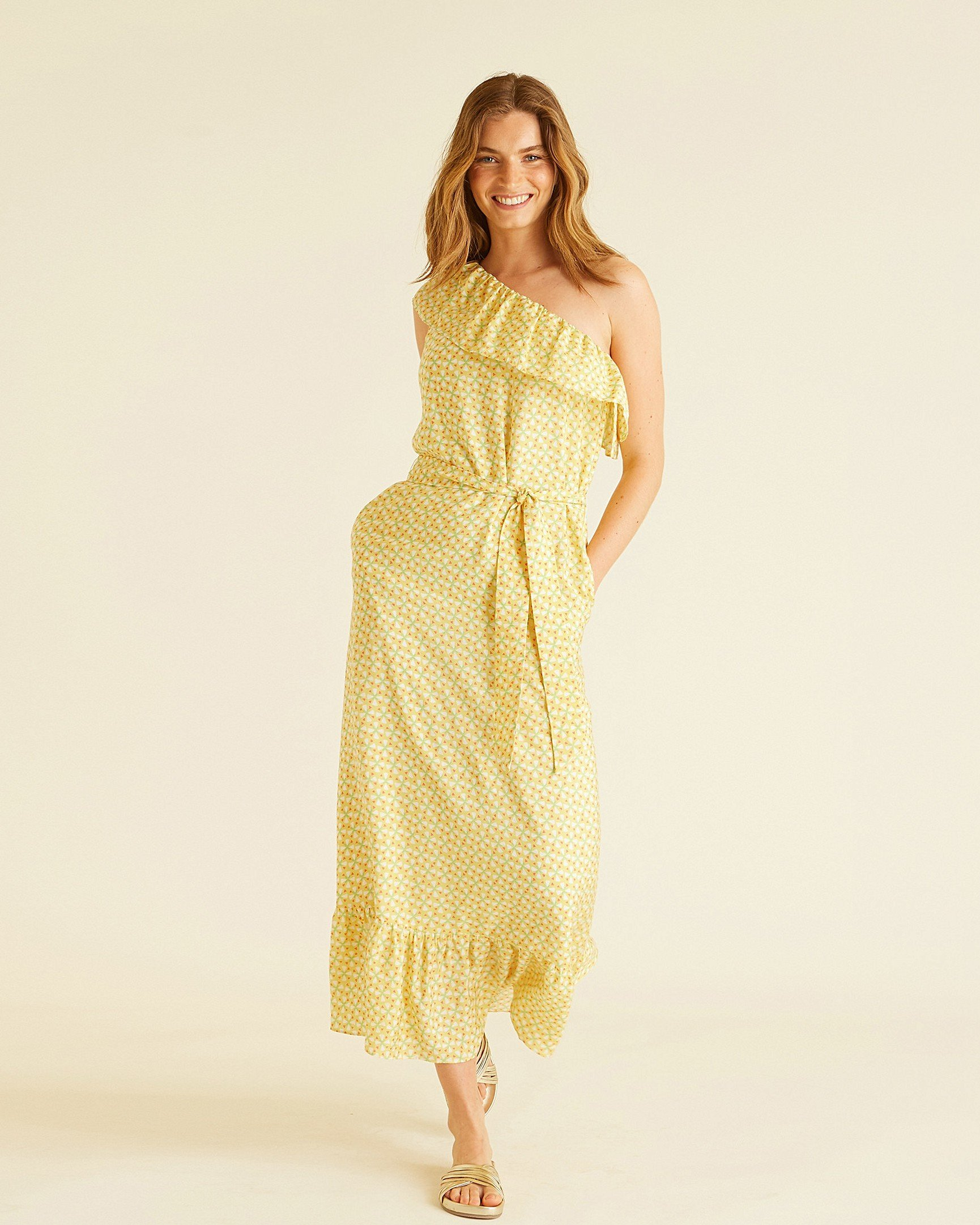 5b18c91945a Tile Print Yellow One Shoulder Maxi Dress
