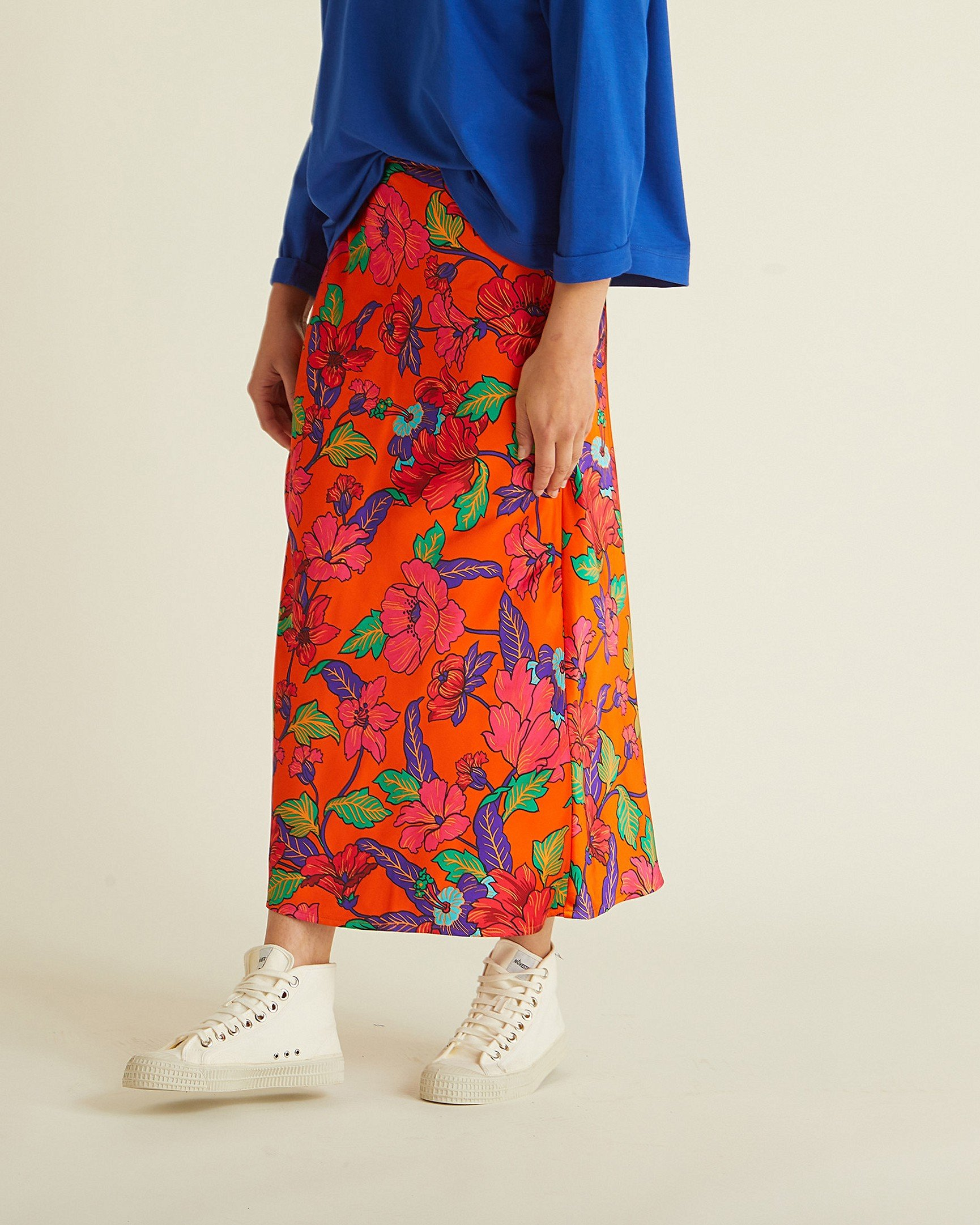 fd85dba74f53 Bright Orange Floral Midi Skirt