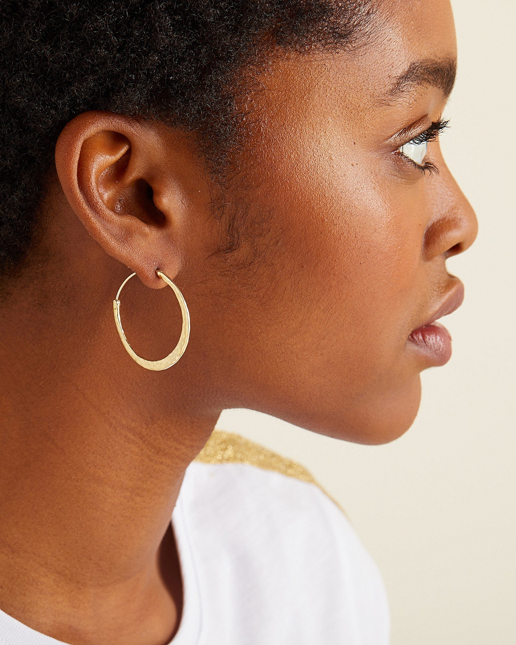 Hammered Texture Gold Plate Hoop Earrings