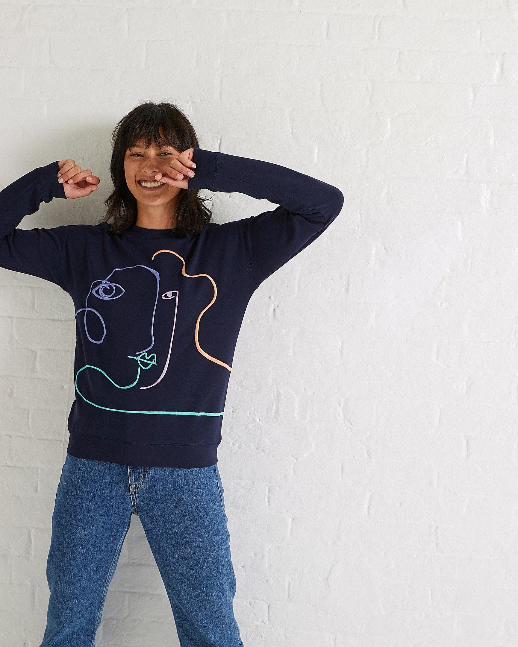 5d562935b5 Linear Lady Navy Sweatshirt