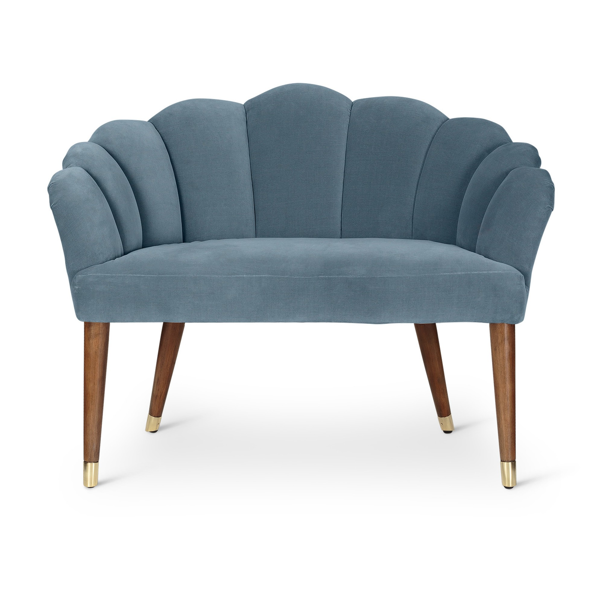 Flora Duck Egg Blue Velvet Loveseat Sofa
