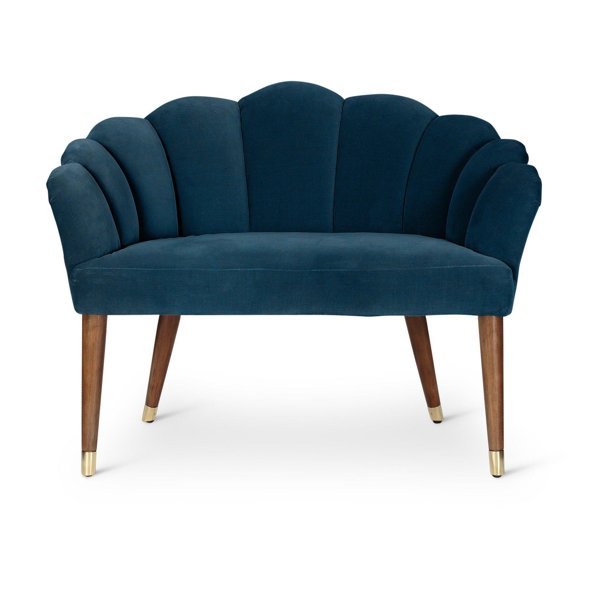 Flora Azure Blue Velvet Loveseat Sofa