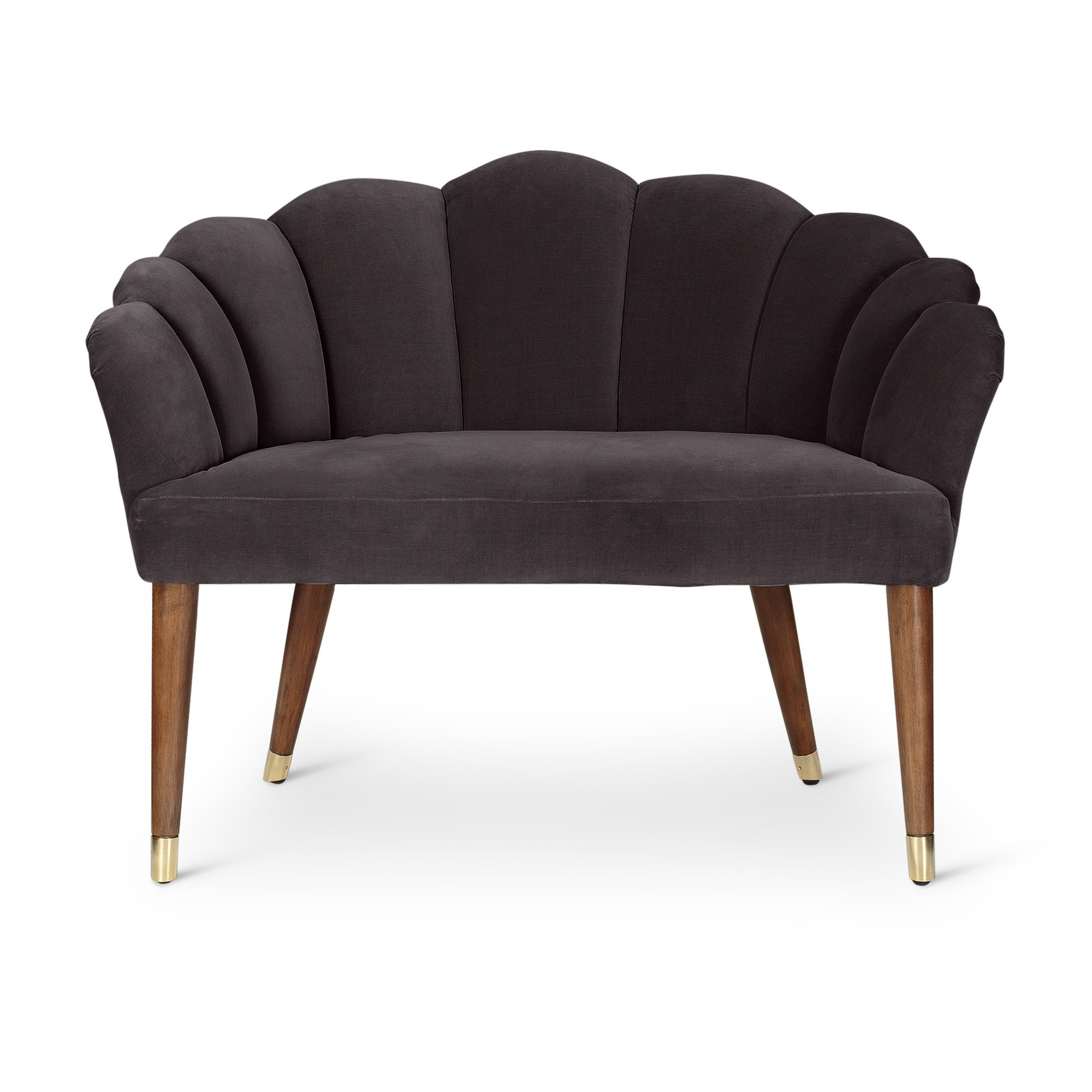 Flora Dark Grey Velvet Loveseat Sofa