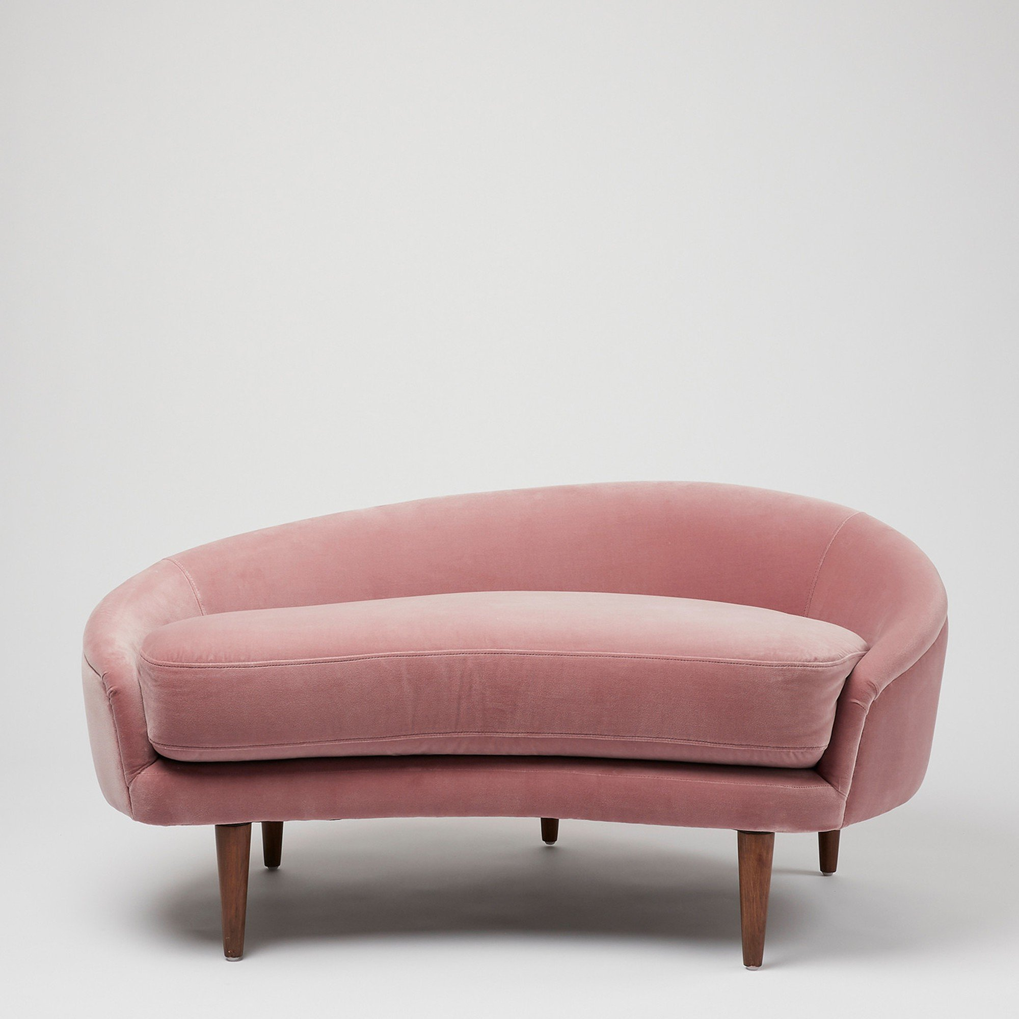 Luna Dusty Pink Velvet Loveseat Sofa