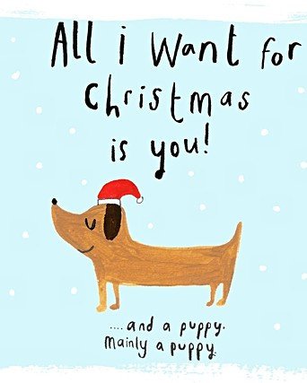 A Puppy For Christmas.Mainly A Puppy Christmas Card Oliver Bonas