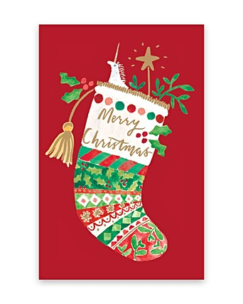 Christmas Cards Images.Festive Stocking Merry Christmas Cards Pack Of Eight Oliver Bonas
