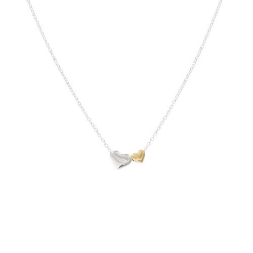Silver And Gold Duo Heart Necklace by Olivar Bonas