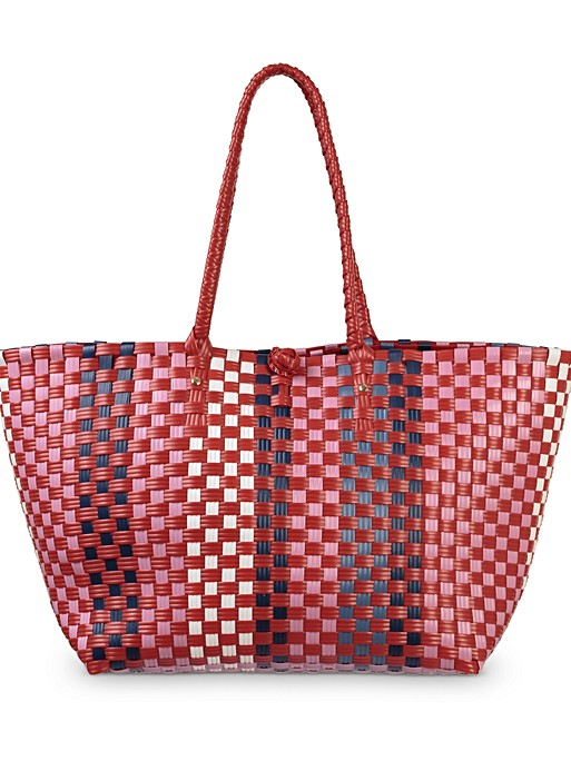 fc97b5040d8 Alora Woven Red Market Tote Bag | Oliver Bonas
