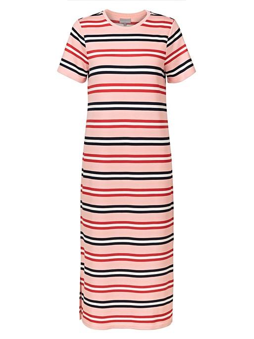 a2401890 Striped Pink Midi T-Shirt Dress | Oliver Bonas