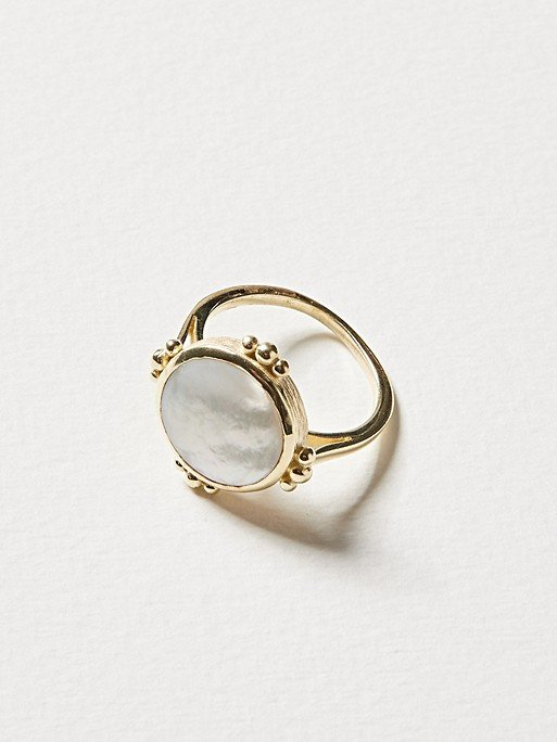 Degana Mother of Pearl & Gold Plated Disc Ring