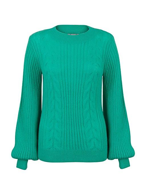 Works Green Cable Knit Jumper Oliver Bonas