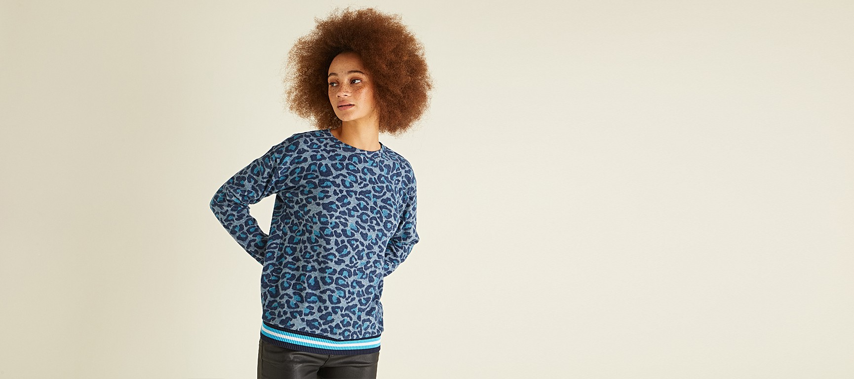 cd9442bf8996 Leopard Print Blue Sweat Top | Oliver Bonas