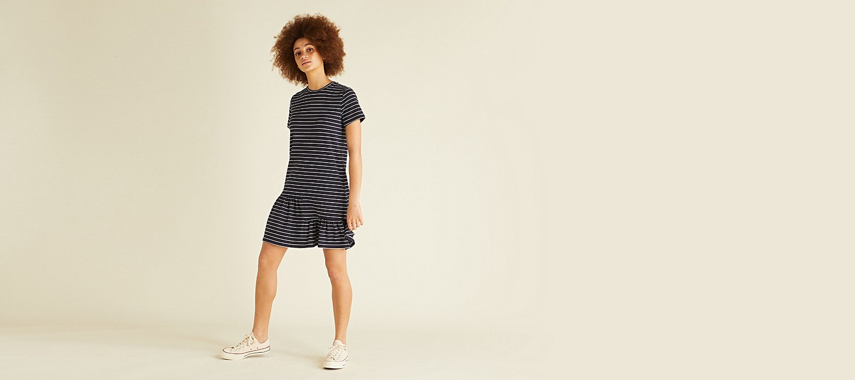 7d17fb7ee8 Roaming Navy Striped T-Shirt Dress | Oliver Bonas