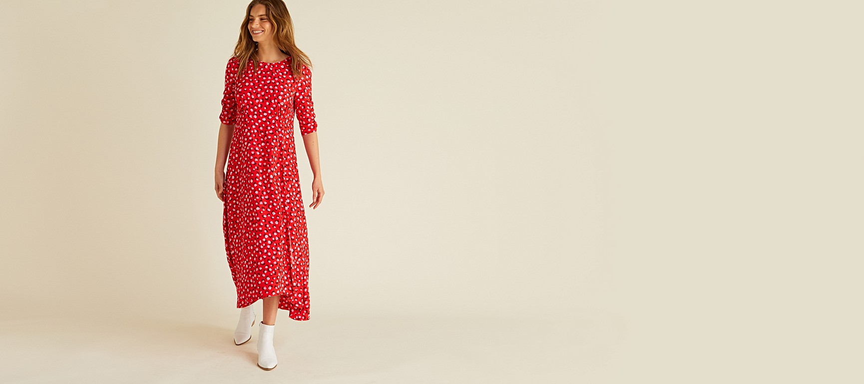 96677ff9817 Ditsy Floral Print Red Midi Dress