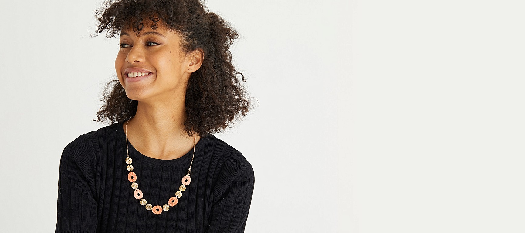 Ainsley Pink Textured Disc Long Chain Necklace