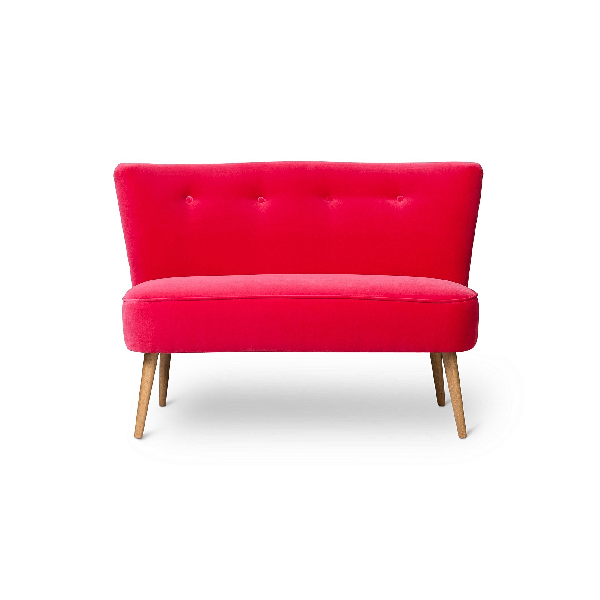 Le Cocktail Velvet Bright Fuchsia Pink Twin Loveseat