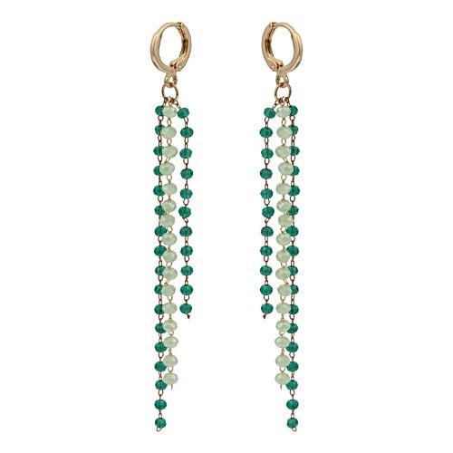 Spark Green Beaded Chain Drop Huggie Earrings by Olivar Bonas