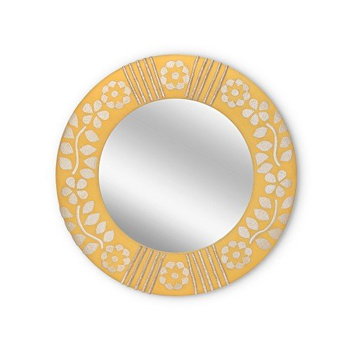 Fabric Embroidered Circle Yellow Wall Mirror Extra Small by Olivar Bonas