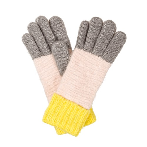 Colour Block Yellow Knitted Gloves by Olivar Bonas