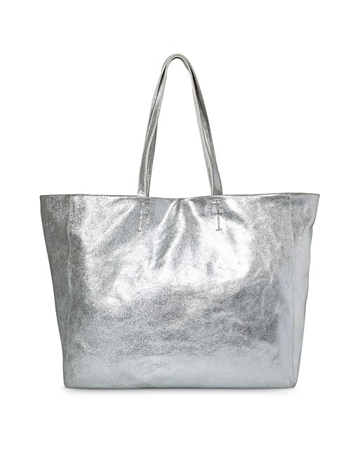 Martha Slouch Pocket Silver Leather Tote Bag