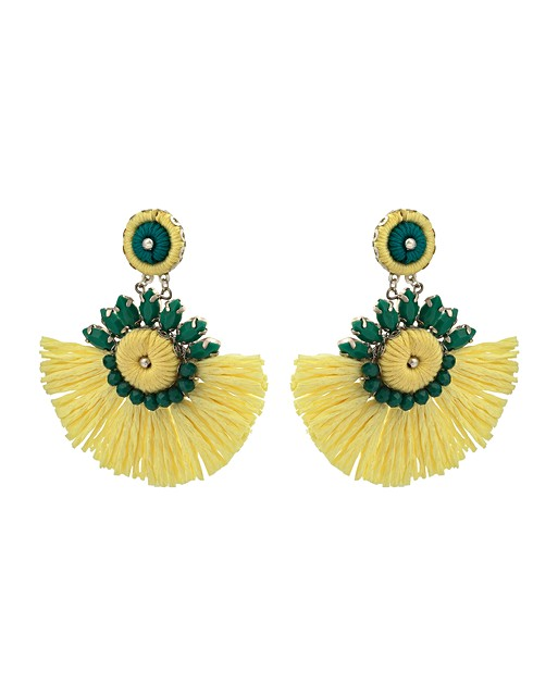 Sahar Yellow Beaded Raffia Fan Statement Earrings Oliver Bonas