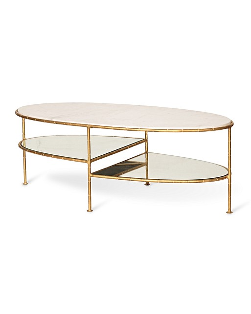 Marble Coffee Table Oliver Bonas: Luxe Three Oval Bamboo Coffee Table