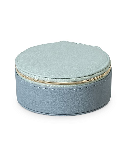 Nellie Blue Round Travel Jewellery Box Small