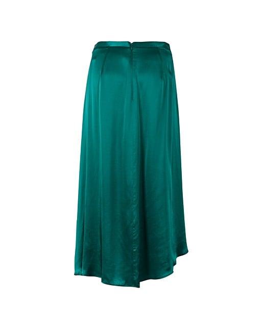 42dbd1b006 Luna Green Satin Asymmetric Wrap Skirt   Oliver Bonas