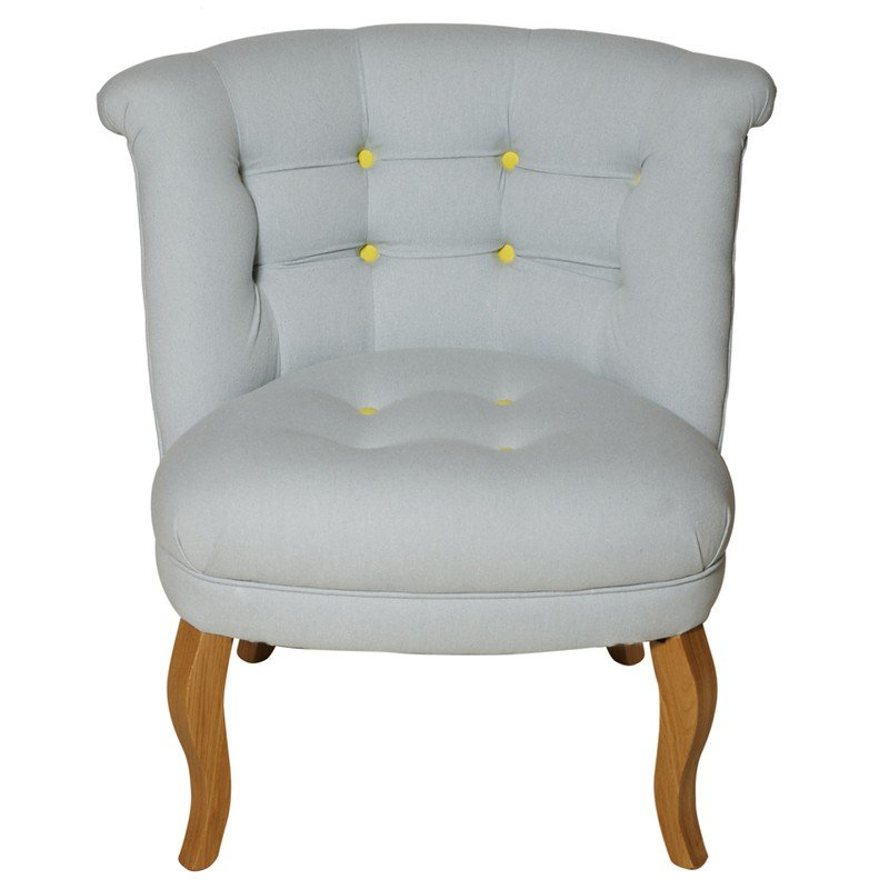 Oliver Bonas Contrast Button Cotton Tub Chair, Black