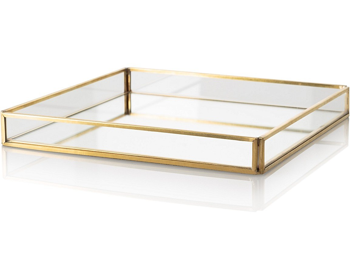 Medium Gold Amp Glass Mirrored Tray Oliver Bonas