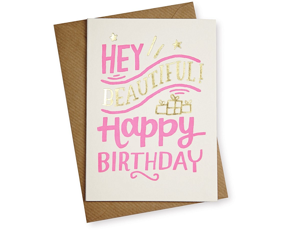 Hey beautiful birthday card gifts for her oliver bonas birthday card bookmarktalkfo Images
