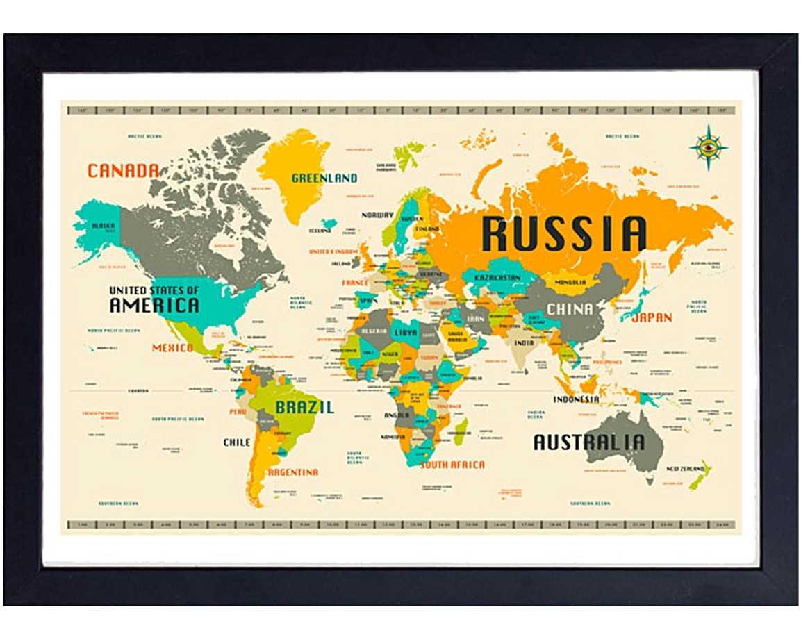 World Map by Jazzberry Blue Wall Art | Oliver Bonas